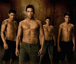 The werewolf contingent from the film New Moon, opening at 12:01am in theaters across the nation.