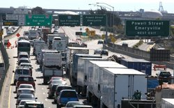 Traffic backs up on westbound interstate 80 as safety cones block the entrance to the the San Francisco Bay Bridge October 28, 2009 in Emeryville, California.