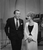 "Ed Sullivan chats with Petula Clark, who performs her Grammy-winning evergreen, ""Downtown."""