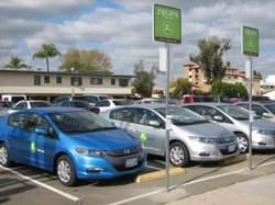 Three hybrid Honda Insights are parked on San Diego State University campus on Dec. 9, 2009. They are part of the new Zipcar program designed to reduce campus congestion.