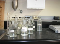 Beakers and bottles in a chemistry class at La Jolla High School.