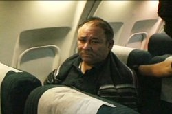 Mexican federal forces fly Miguel Messina, a 22-year Tijuana police veteran, from Tijuana to a prison in Nayarit, Mexico in April 2009. According to his daughter, Blanca Messina, the Mexican government has not presented any evidence that substantiates their claims that her father is tied to organized crime.