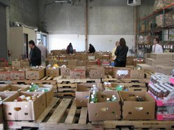 Charity volunteers pick out food items at the Food Bank&#39;s warehouse on December 17, 2010 in San Diego, California.