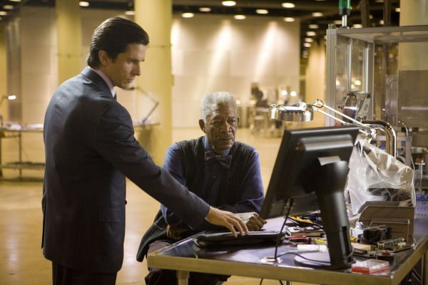 "Christian Bale with Morgan Freeman in ""The Dark Knight"""