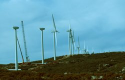 A wind farm is under construction at the Campo Reservation east of San Diego, seen here on January 3, 2010.
