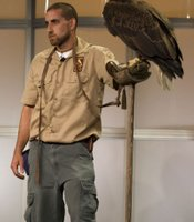"Trevor Jahangard, Los Angeles Zoo, with Anami, an American bald eagle, on the PBS panel for ""Nature: American Eagle"" at the TCA Summer 2008 Press Tour on July 13, 2008, at the Beverly Hilton in Los Angeles."