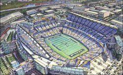 A rendering of the proposed Chargers stadium in downtown San Diego.