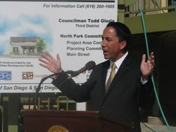 City Councilman Todd Gloria, chair of San Diego's Land Use and Housing Committee, outlines the increase in affordable housing units owned by the Housing Commission on February 3, 2010.