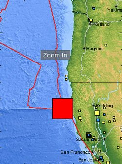 This map by USGS pinpoints the location of the quake that struck off the coast of Northern California on February 4, 2010.
