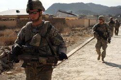 Soldiers with the US Army Able Company, 3-509 Infantry Battalion patrol the main street of Zerak on January 23, 2010 next to their Combat Outpost (COP) in Zerak, Afghanistan.