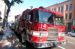 A San Diego Fire Department vehicle parks in the Gaslamp Quarter. The city recently received a fire deployment study it had commissioned to look at the issues facing the fire department.
