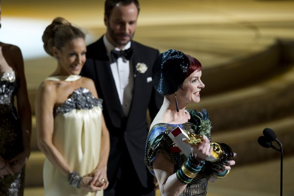 "Sarah Jessica Parker looks on as Sandy Powell wins for Best Costume for ""The Young Victoria."""