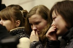 A young Russian girl cries while commemorating the victims of the terrorist metro blasts inside the Lubyanka metro station in Moscow on March 30, 2010.