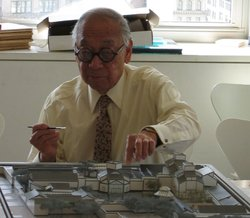 Architect I.M. Pei working with model of Suzhou Museum.