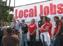 Congressman Bob Filner, now mayor of San Diego, addresses a labor rally on Cesar Chavez Day 2010.