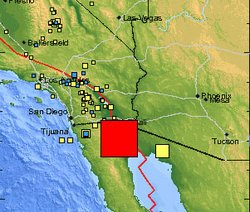 This map from USGS shows the location and size of the 7.2 magnitude earthquake that struck in Baja California on April 4, 2010.