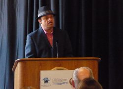 Comedian Paul Rodriguez, Chairman of the Latino Water Coalition, urged passage of the $11 billion water bond measure on California's November ballot at a meeting on April 7, 2010.