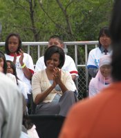 First Lady Michelle Obama visited the New Roots Community Farm in City Heights on April 15, 2010. Her visit was part of her health campaign to end childhood obesity.