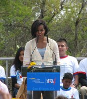 First Lady Michelle Obama speaks at the New Roots Community Farm in the City Heights neighborhood of San Diego on April 15, 2010. The first lady is promoting her health campaign to end childhood obesity.