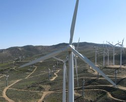 Wind turbines at Oak Creek Energy Systems Wind Farm, Mojave, California.