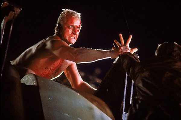 "Rutger Hauer as the replicant Roy Batty in ""Blade Runner."""