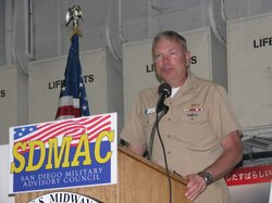 Admiral William French, commander of Navy Region Southwest, seen here speaking at the San Diego Military Advisory Council (SDMAC) announcement of the latest report on the military's impact on San Diego's economy.
