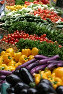 A variety of colorful vegetables on display at a market.