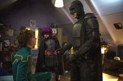 """Kick-Ass"" features: Aaron Johnson as Kick-Ass, Chloe Moretz as Hit-Girl, and Nicolas Cage as Big Daddy."