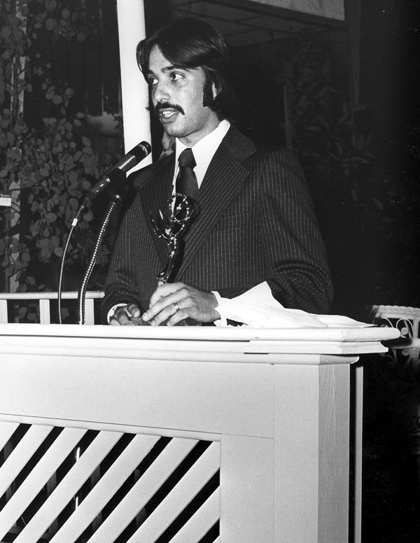 Tom Karlo accepting his Emmy for Cinematography in 1974.