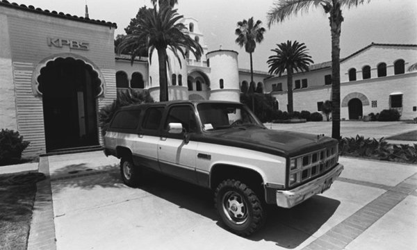 KPBS truck in front of original broadcast center, located in the Speech/Language Arts Building at SDSU.