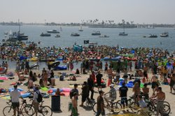 People celebrate Floatopia in Mission Bay in San Diego on March 20, 2010. Floatopia takes advantage of a loophole which does not prohibit drinking while in the water, despite a prohibition on the beach.