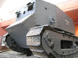 """Little Willie,"" the world's first tank, at Bovington Museum, England."