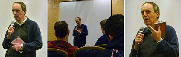 Dario Argento speaking before the crowd at the screening of &quot;Inferno.&quot;