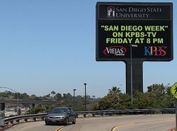 SDSU electronic billboard, near Interstate 8.