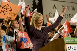 Republican gubernatorial candidate Meg Whitman delivers a campaign speech to supporters at her primary night party at the Universal Hilton Hotel June 8, 2010 in Los Angeles, California. Whitman, the former chief executive of eBay, won the Republican gubernatorial primary with a wide lead over her nearest competitor Steve Poizner. (Photo by Michal Czerwonka/Getty Images)