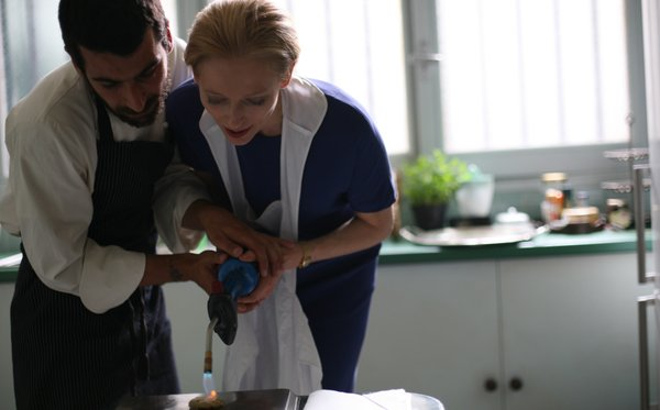 "Edoardo Gabbriellini and Tilda Swinton are drawn together by food in ""I Am Love."""