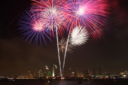 4th of July Fireworks light up the sky over San Diego Bay.