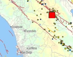 This USGS map shows the size and location of a sizable earthquake that struck near Borrego Springs just after 5 p.m. on July 7, 2010.