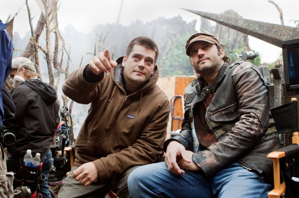 "Director Nimród Antal and producer Robert Rodriguez on the set of ""Predators"""