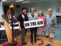 The cast of the Tom Swift radio dramas. From left to right: Scott Paulson, Kevin Koppman-Gue, Veronica Murphy, and Walter Ritter.