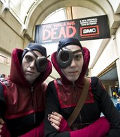 Comic-Con attendees dressed as members of the Guild of Calamitous Intent, a supervillain collective from The Venture Bros., a show on Cartoon Network's Adult Swim.