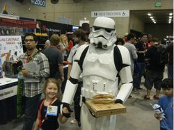 Stormtrooper and daughter enjoying lunch together.