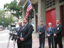 Frank DeClercq, president of the San Diego City Fire Fighters union, and Brian Marvel, president of San Diego Police Officers Association, Inc., speaking on July 26, 2010, in support of putting a half-cent sales tax increase on the November ballot.