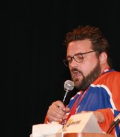 What better way to close Hall H for Comic-Con 2010 than with fan boy darling Kevin Smith. He can pack the Hall and entertain the crowd. On attendee came up to ask a question and also propose to his girlfriend. Who says Comic-Con isn't romantic? (Photo by: Tony Weidinger)