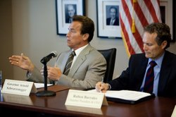 Governor Schwarzenegger participating in a budget roundtable discussion with members of the San Diego Regional Chamber of Commerce on July 29, 2010. From left to right: Governor Arnold Schwarzenegger and San Diego Regional Chamber of Commerce President and Chief Executive Officer Ruben Barrales.