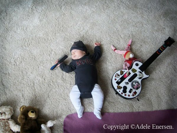 Baby Mila is a rock star in this dream. Conceived and photographed by Mila's mother, Adele Enersen.