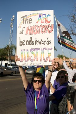 A woman held up her sign in celebration of the repeal of Proposition 8 at a rally in Hillcrest on August 4, 2010.