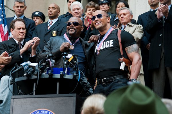 "Samuel L. Jackson and Dwayne Johnson are the ""guys"" cop action films are usually about."