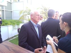 San Diego County Supervisor Ron Roberts speaks with a reporter about the launch of Project 25 on August 18, 2010.