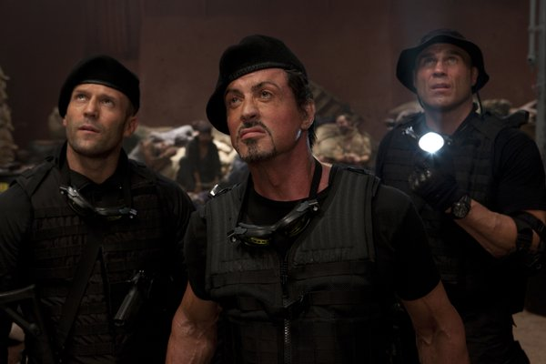"Jason Statham, Sylvester Stallone, and Randy Couture in ""The Expendables"""